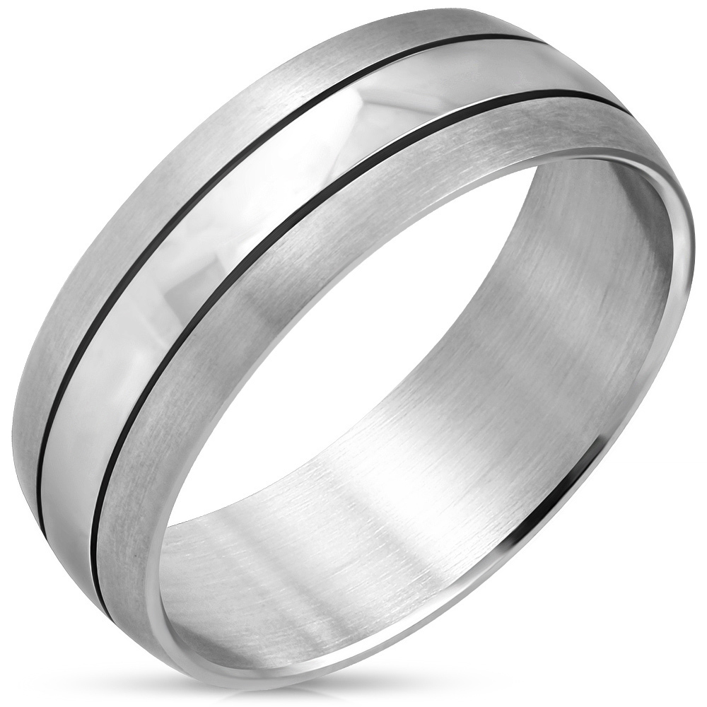 Stainless Steel Half-Round Wedding Band Ring
