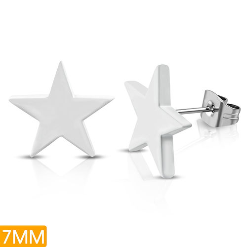 White Painted Stainless Steel Shining Star Stud Earrings (pair)