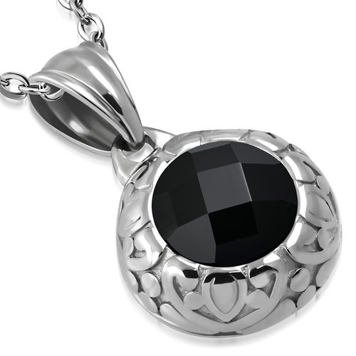 Stainless Steel Bali-Inspired Dome Circle Charm Pendant w/ Jet Black CZ