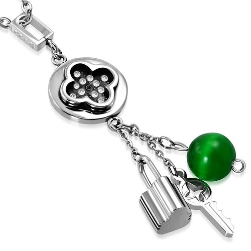 Stainless Steel 2-tone Flower Cross Round Circle Bead Key Padlock Charm Pendant w/ Clear CZ