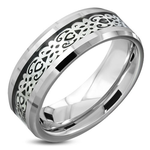 8mm TCarbide 2-tone Comfort Fit Half Round Band Ring w/ Celtic Flower Vine Inlay - Silver
