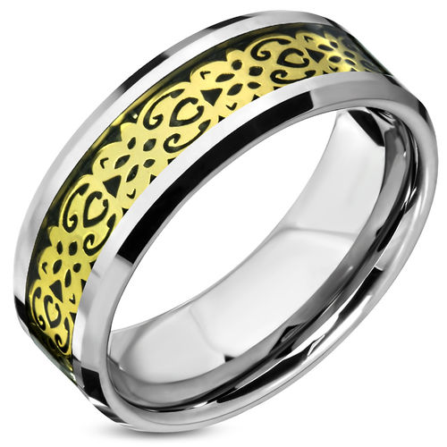 8mm TC 2-tone Beveled Edge Comfort Fit Half-Round Band Ring w/ Celtic Flower Vine Inlay - Gold