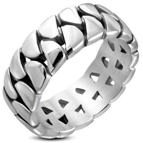 9.5mm Stainless Steel Fancy Half-Round Band Ring