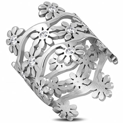 Stainless Steel Flower Link Wedding Band Ring w/ Clear CZ