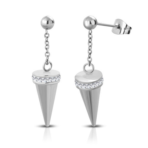 Stainless Steel Cone Spike Drop Stud Earrings w/ Clear CZ (pair)