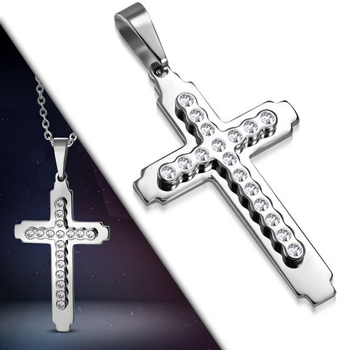 Stainless Steel Pave-Set Double Cross Pendant w/ Clear CZ