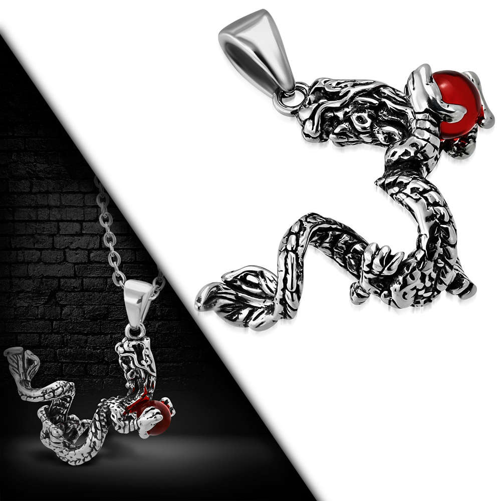 Stainless Steel 2-tone Spiral Dragon Chinese Zodiac Sign Biker Pendant w/  Red Ball