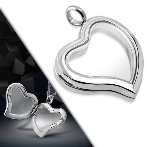 Stainless Steel Inner Glass Love Heart Locket Pendant w/ Magnetic Lock
