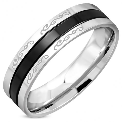 6mm | Stainless Steel 2-tone Spiral Vine Design Comfort Fit Wedding Flat Band Ring
