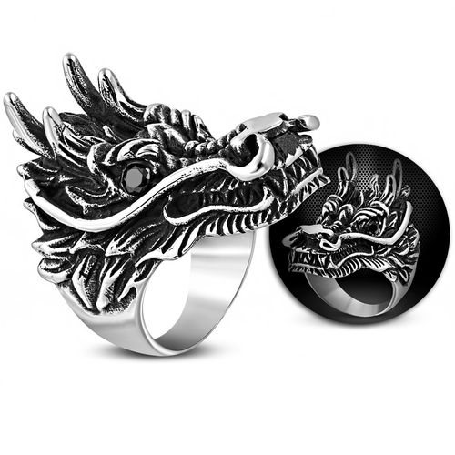 Stainless Steel 2-tone Dragon Chinese Zodiac Sign Biker Ring w/ Jet Black CZ
