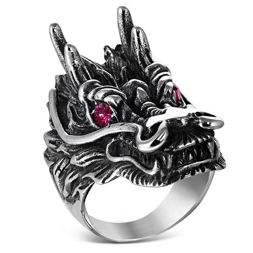 Stainless Steel 2-tone Large Dragon Chinese Zodiac Sign Biker Ring w/ Light Siam Red CZ