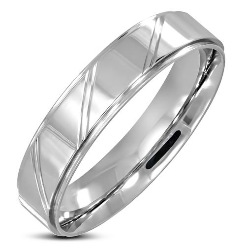 5mm | Stainless Steel Diamond-Cut Striped Step-Edge Comfort Fit Flat Band Ring