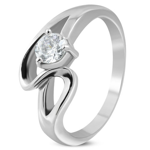 Stainless Steel Prong-Set Round Sirena Bypass Fancy Ring w/ Clear CZ
