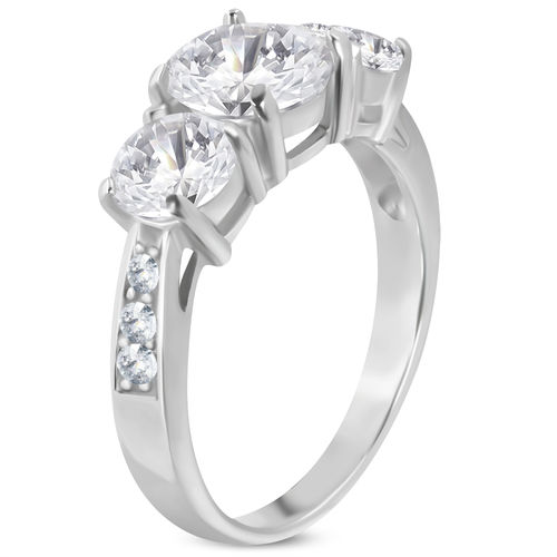 Stainless Steel Prong-Set 3-stone Engagement Ring w/ Clear CZ