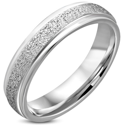 5mm | Stainless Steel Sandblasted Comfort Fit Flat Band Wedding Band Ring