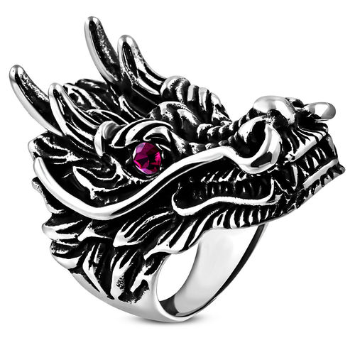 Stainless Steel 2-tone Large Dragon Chinese Zodiac Sign Biker Ring w/ Violet CZ