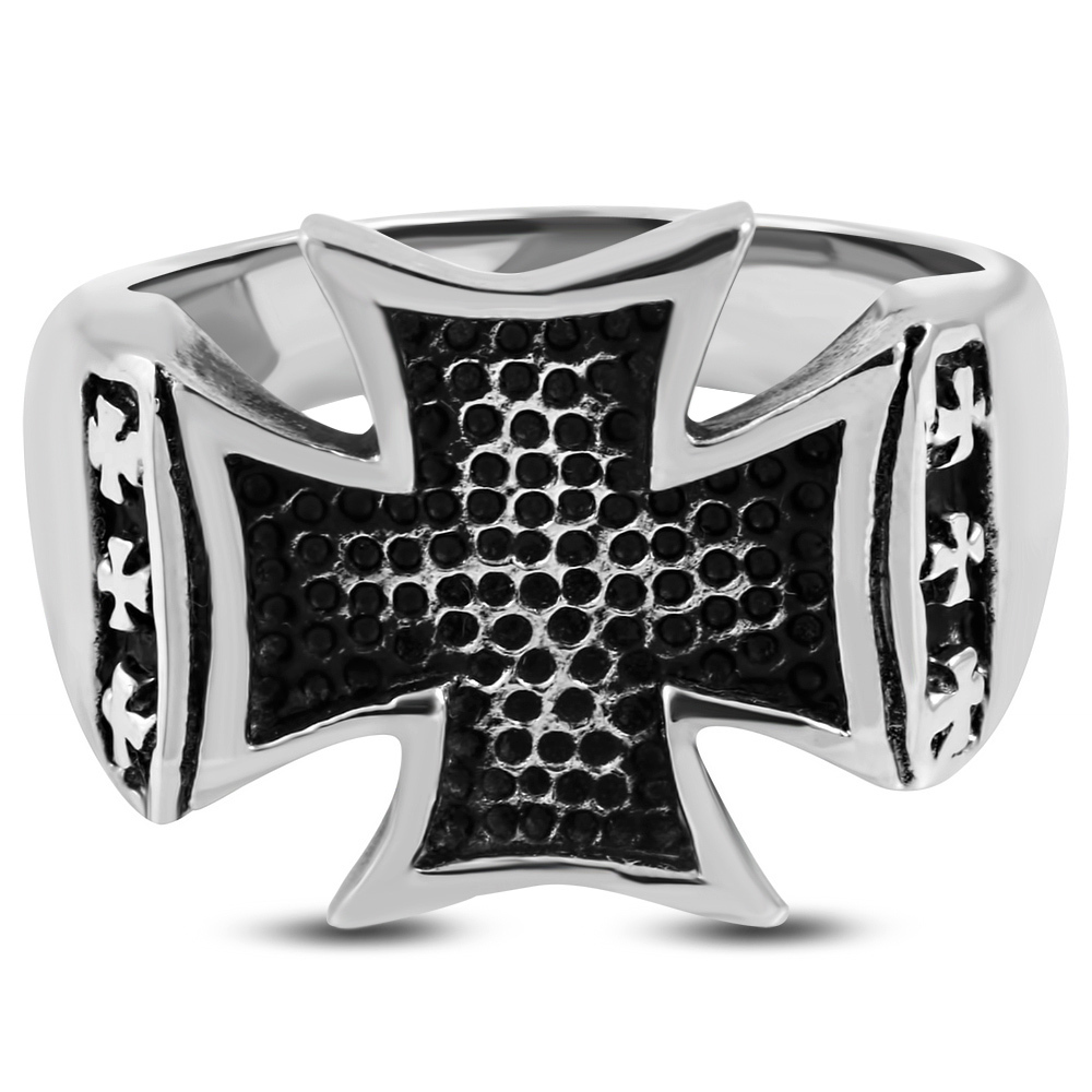 Details about  /Stainless Steel 2-Tone Concentric Pattee Cross Biker Ring