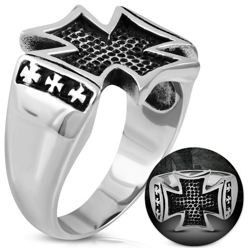 Stainless Steel 2-tone Pattee Cross Biker Ring