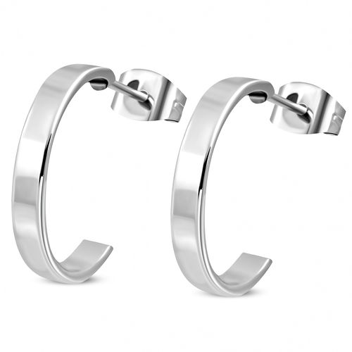 18mm | Stainless Steel Half-Hoop Stud Earrings (pair)