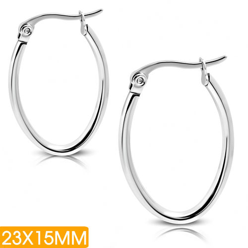 23x15mm | Stainless Steel Oval-Shaped Tube Clip Back Earrings (pair)