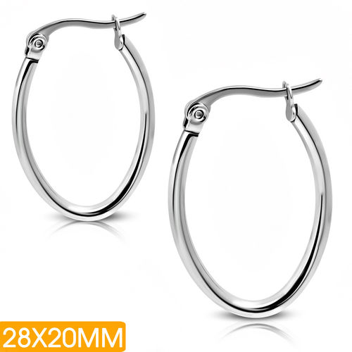 28x20mm | Stainless Steel Oval-Shaped Tube Clip Back Earrings (pair)
