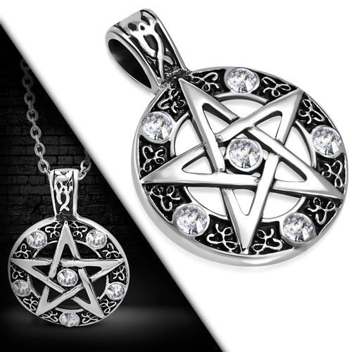 Stainless Steel 2-tone Pentagram Star Circle Biker Pendant w/ Clear CZ