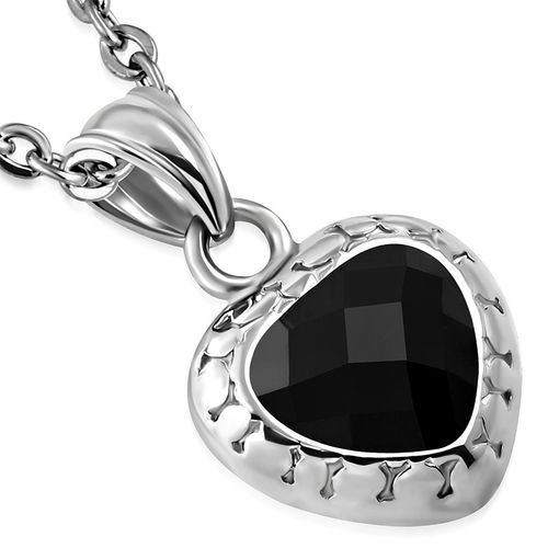 Stainless Steel Bali-Inspired Love Heart Charm Pendant w/ Jet Black CZ