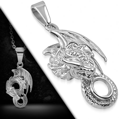 Stainless Steel Spiral Flying Dragon Biker Pendant
