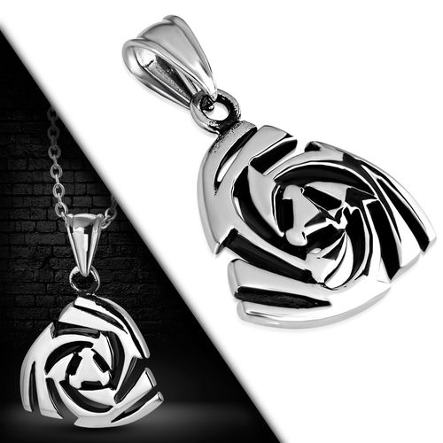 Stainless Steel 2-tone Cut-out Geometric Spiral Pendant