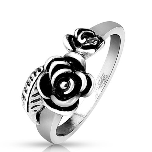 Two Roses with Leaf Stainless Steel Cast Ring