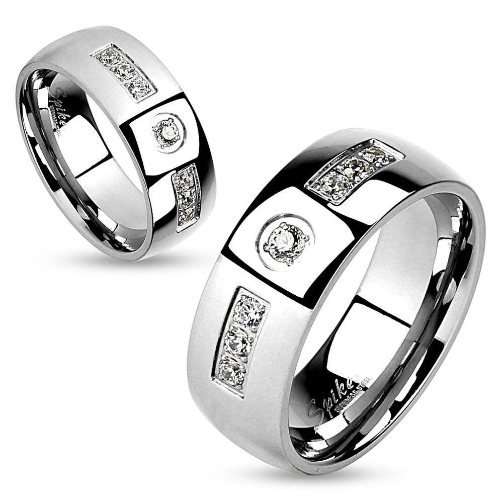 2ad26fbbe43c1 Gem Inlay with Center Gem Stainless Steel Couple Ring