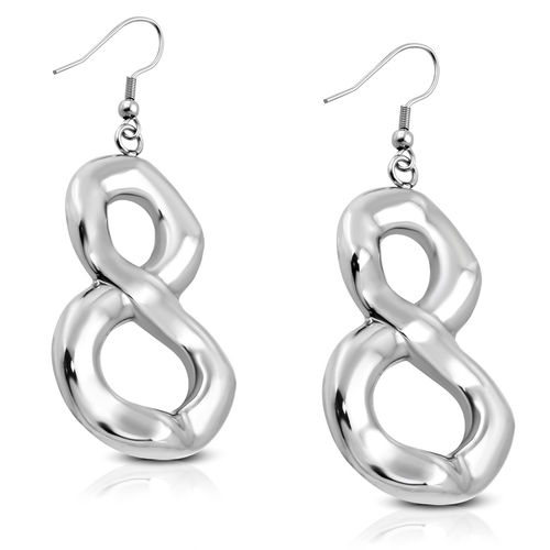 Stainless Steel Number 8 Infinity Drop Hook Earrings (Pair)