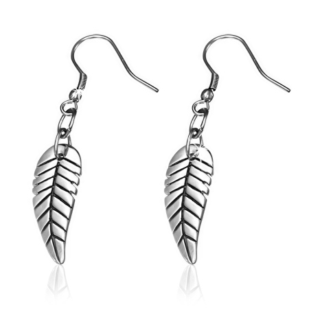 Stainless Steel 2-tone Leaf Long Drop Hook Earrings (pair)