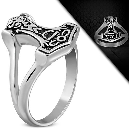 Stainless Steel 2-tone Celtic Knot Thors Hammer Biker Ring