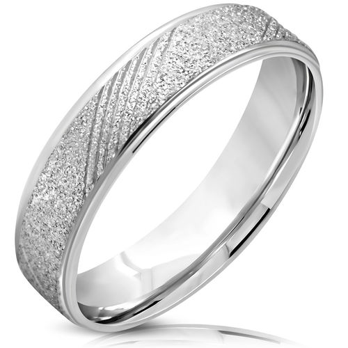 6mm | SS Sandblasted Diagonal Grooved Step-Edge Comfort Fit Half-Round Wedding Band Ring