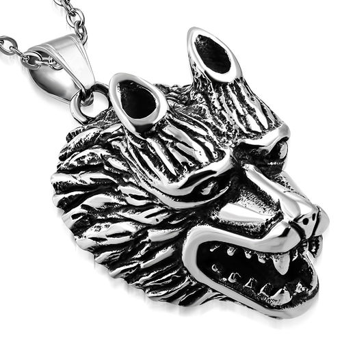 LARGE | Stainless Steel 2-tone Fox/ Wolf Biker Pendant