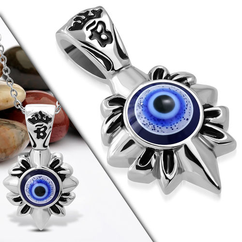 Stainless Steel 2-tone Evil Eye Flower Biker Pendant