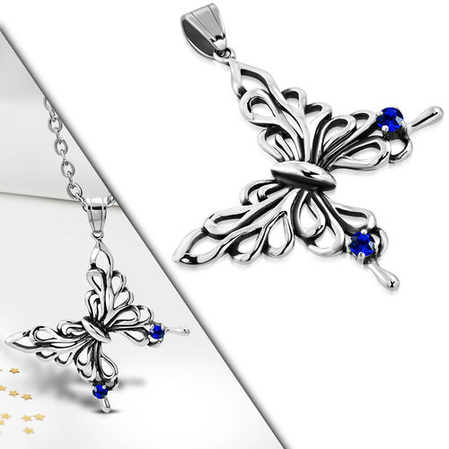 Stainless Steel Tribal Butterfly Charm Pendant w/ Dark Sapphire CZ