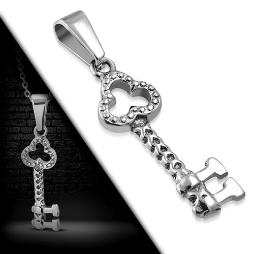 Stainless Steel Hammered Finish Skeleton Key Charm Pendant
