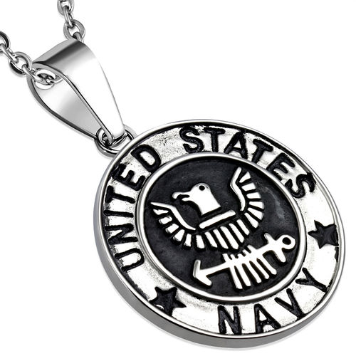 Stainless Steel 2-tone United States Navy Military Medallion Medal Biker Pendant