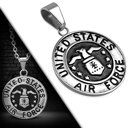 Stainless Steel 2-tone United States Air Force Military Medallion Medal Biker Pendant
