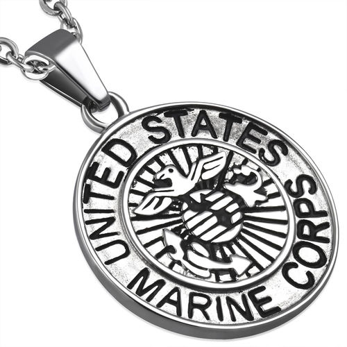 Stainless Steel 2-tone United States Marine Corps Military Medallion Medal Biker Pendant