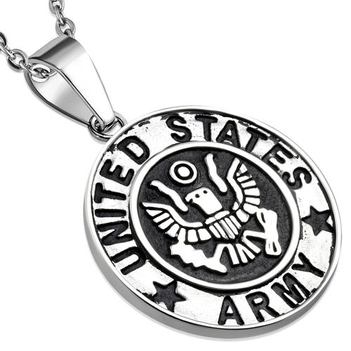 Stainless Steel 2-tone United States Army Military Medallion Medal Biker Pendant