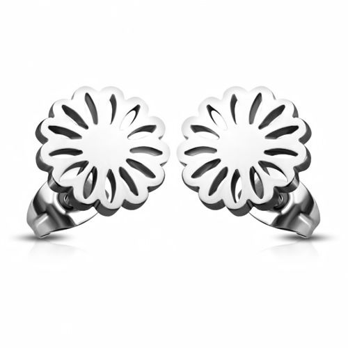 Stainless Steel Fancy Circle Flower Stud Earrings (Pair)