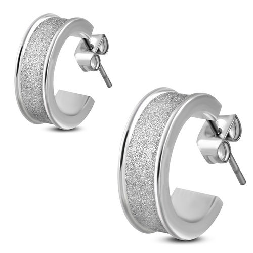 6mm | Stainless Steel Sandblasted Concave Half Hoop Stud Earrings (Pair)