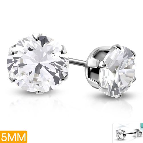5mm | Stainless Steel Prong-Set Round Circle Stud Earrings w/ Clear CZ (pair)