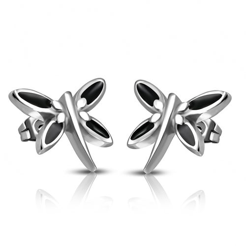 Stainless Steel Black Enameled Dragonfly Stud Earrings (pair)