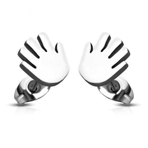 Stainless Steel Hand Wave Goodbye Stud Earrings (pair)