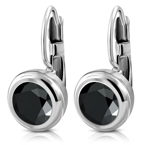 10mm | Stainless Steel Round Circle Leverback Earrings w/ Jet Black CZ (pair)