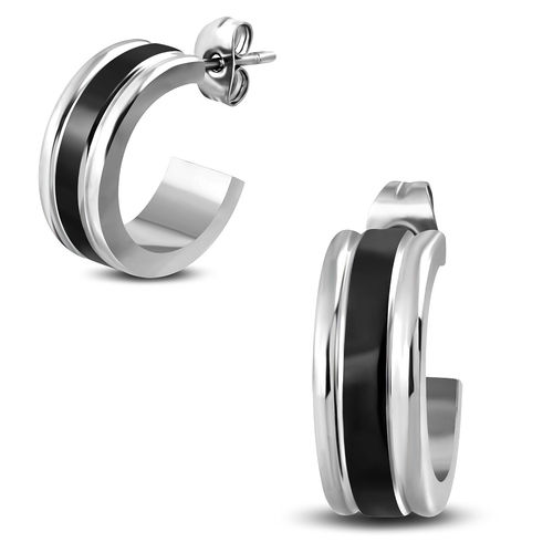 6mm | Stainless Steel 2-tone Half Hoop Stud Earrings (Pair)
